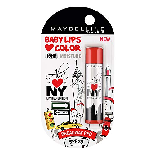 Maybelline New York Baby Lips Loves NYC Lip Balm, Crème Finish, 4g - Broadway Red