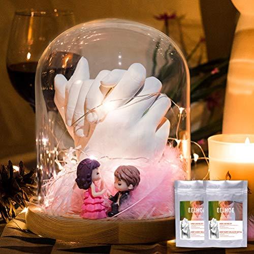 Zhangpu Gipsabdruck Set, Hand und fuß 3D Handabdruck Set Kind Erwachsene Paar 2 hände 3D fussabdruck Set komplett mit Alginat Abformmasse Gipspulver Behälter Bambusstock für Pärchen Geschenke