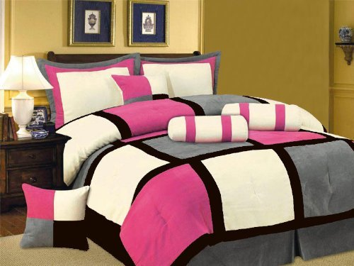 7 PC MODERN Black Hot Pink White Gray Suede COMFORTER SET / BED IN A BAG - QUEEN SIZE BEDDING