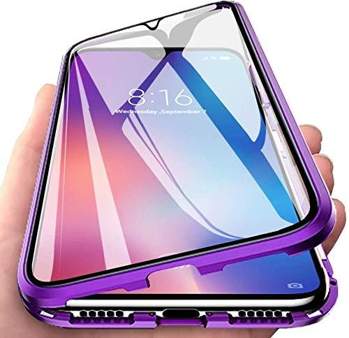 Aest Kompatibel für Oppo Find X2 NEO/Oppo Reno 3 Pro Hülle Magnetische Adsorption Schutzhülle 360 Grad Schutz Doppelte Seiten Transparent Gehärtetes Glas Stoßdämpfend Handyhülle - Lila