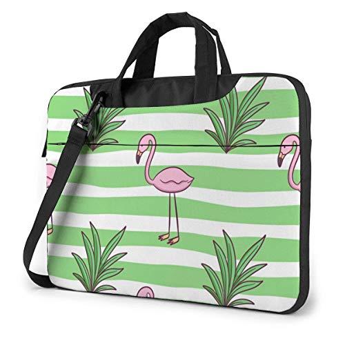 15.6 inch Laptop Shoulder Briefcase Messenger Flamingo Grass White Green Stripes Tablet Bussiness Carrying Handbag Case Sleeve