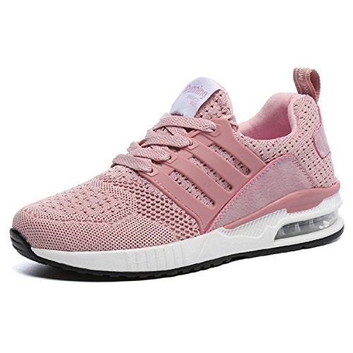 tqgold Herren Damen Sportschuhe Laufschuhe Bequem Atmungsaktives Turnschuhe Sneakers Gym Fitness Leichte Schuhe (Rosa,Größe 38)