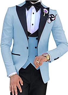 Men's 3 PC Red Notch Lapel Wedding Suits Slim Fit Groom Tuxedos Prom Suits Casual Suit