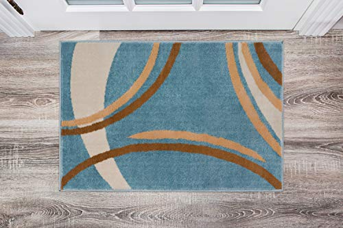 Rug Décor Contemporary Modern Wavy Circles Area Rug,