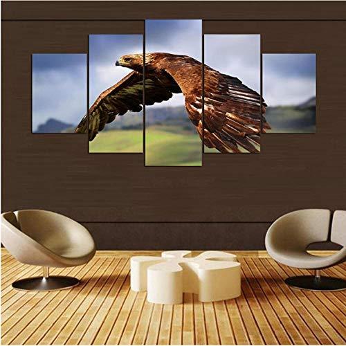 Wuyii woonkamer Hd bedrukt modern schilderij 5 stuks/stuks adelaar vliegen modulaire decoratie poster foto op canvas muurkunst Home Frame 30 x 40 cm x 2/30 x 60 cm x 2/30 x 80 cm x 1.