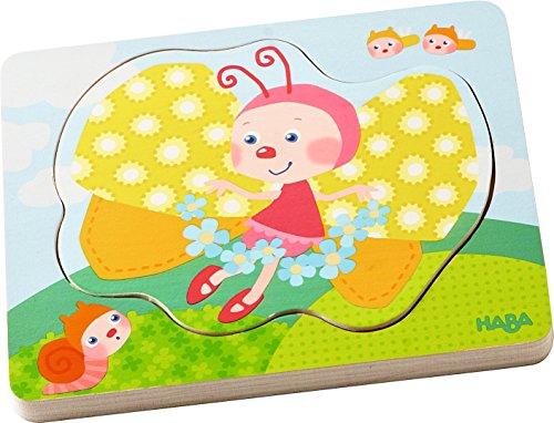HABA 302533 - Holzpuzzle Schmetterlingszauber | Puzzlespaß in 4 Schichten | Holzspielzeug ab 12 Monaten | Stabile Holzteile mit bunten Schmetterlingsmotiven