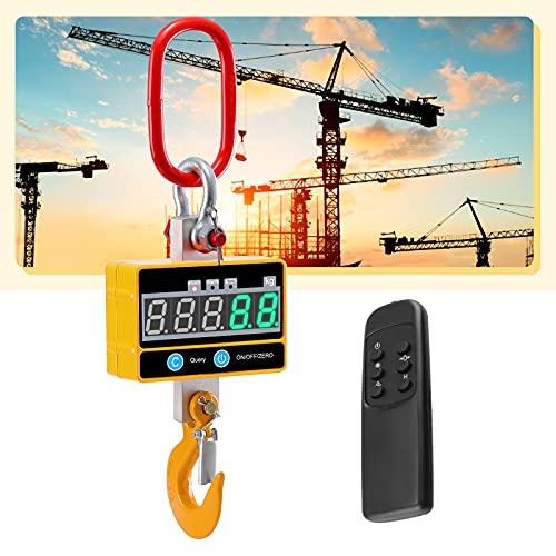 KKTECT Industrial Pesado Escala Colgante 2000kg/4000 LB para Trabajo Pesado Báscula de grúa Digital súper Clara Recargable con Mando a Distancia Báscula Colgante electrónica de Alta precisión de 2T