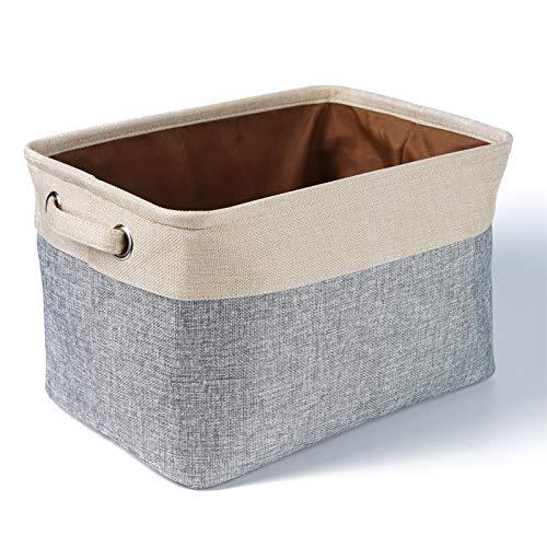 SWECOMZE Cajas de almacenamiento plegables de tela de lino con asas para armarios, estantes, ropa, juguetes (gris)