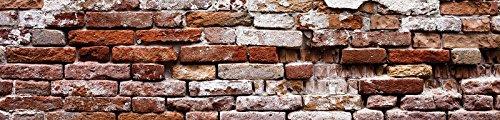 KEUCHENFOTOBEHANG vliesfotobehang voor keuken fotobehang behang voor de keuken vlies | wereld-der dromen | versleten oude rode muur | fotobehang Mural Kitchen 10182_VEK-AW | imitatie bakstenen muur beton VEK (250cm. x 60cm.) bruin, beige, oranje