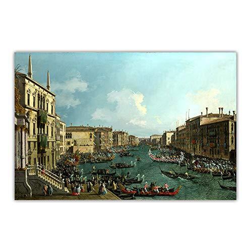 EUpMB Cuadro en Lienzo-de una Sola Pieza - Impresión en Lienzo - Citon Canaletto 《regata En el Canale Grande》 52x35cm Adecuado para familias, escuelas, hoteles.