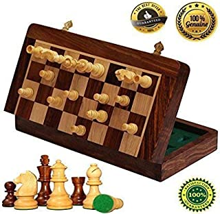 ETROVES Chess Set 10x10 Inch Strong Magnetic Folding Portable Travel Wooden Game Board Set with Storage and 2 Extra Queens Handcrafted Wood Chess Pieces for Kids Beginners and Adults