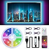 Tiras LED TV 3M, 5050 RGB Luces de LED, Bluetooth LED Tiras, Luces Tiras Kit con Control Remoto, Control APP, USB Adaptador, Multicolor, Impermeable, Tiras LED TV 5V 1-1.5A para 40-60in HDTV/PC