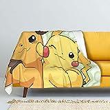 Lano Anime Pikachu & Raichu Blanket Ultra-Soft Throw Blanket Sofa Comfort Lamb Blanket for Kids Or Adult Room Bedroom 50'X40'
