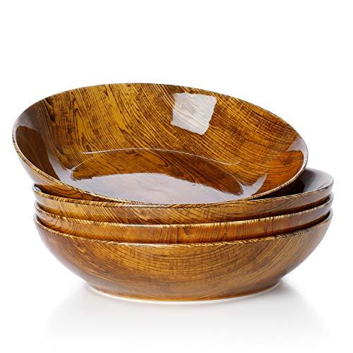 Sweese 113.251 Porcelain Salad Pasta Bowls - 45 Ounce - Set of 4, Woodgrain