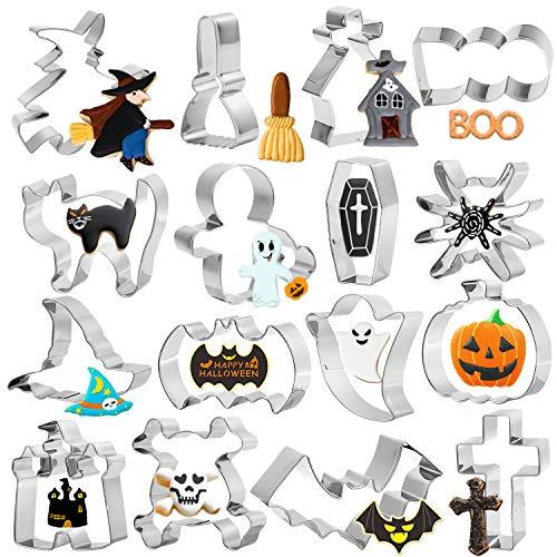 HOWAF 16pcs Halloween Formine per Biscotti di Acciaio Inox, Halloween Stampi Biscotti Formine per Bambini Adulti Rendere Cookie Fondant Dolci Pasta, Zucca Pipistrello Fantasma Cranio Strega
