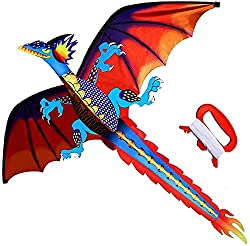 Classical Dragon Kite-Easy to Fly-55inch x 62inch Single Line with Tail
