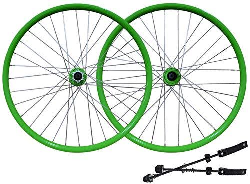 YZU Juego de ruedas de bicicleta de 26 pulgadas MTB de doble pared de aleación de freno de disco de 7 a 11 velocidades, eje de rodamiento Palin de liberación rápida, 6 colores, verde