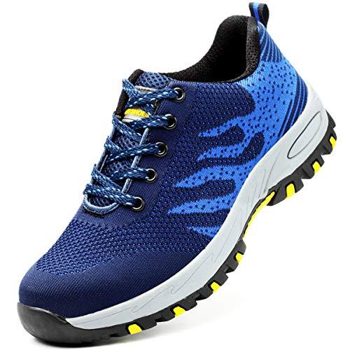 GUFANSI Arbeitsschuhe Herren S3 Leicht Blau 43 mit Stahlkappe Sommer Arbeit Schuhe Männer Sicherheit Sneaker Turnschuhe Sportlich Schutzschuhe Atmungsaktiv Trekkingschuhe für Kinder Jungen