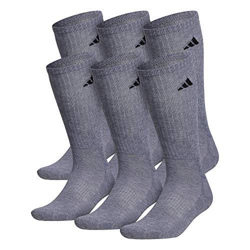 adidas pour Homme Athletic Crew Chaussettes (6-Pack), Homme, Heather Grey/Black, Shoe: 6-12