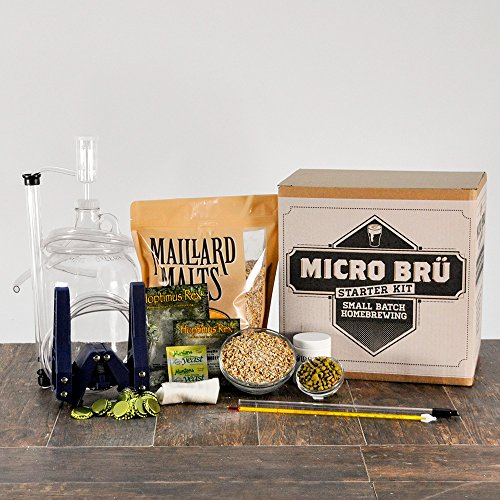 Kickass American Wheat 1 Gallon All Grain Micro Bru HomeBrewing Starter Kit And Beer Brewing Recipe Kit - Equipment For Making Homemade Beer