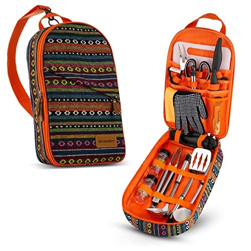 Camp Kitchen Cooking Utensil Set Travel Organizer Grill Accessories Portable Compact Gear for Backpacking BBQ Camping Hiking Travel Cookware Kit Water...