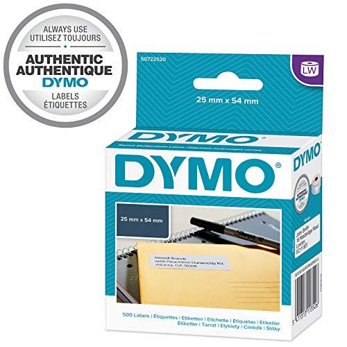 DYMO LW    Etiquetas auténticas de dirección del remitente grandes, 25mm×54mm, rollo de 500etiquetas con reverso fácil de retirar, autoadhesivas, para rotuladoras LabelWriter