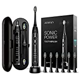 ATMOKO Sonic Power Ultra Whitening Toothbrush, 6 Indicator Dupont Brush Heads & Travel