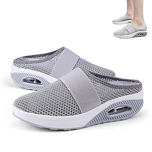 HengYuan Zapatos para Caminar con amortiguación de Aire para Mujeres, Sandalias ortopédicas de Malla Antideslizante para Caminar, Zapatillas de Deporte Casual Transpirables al Aire Libre (Gray,EU 40)