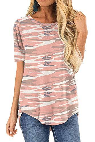HIYIYEZI Womens O Neck Side Split Loose Casual Plus Tee Shirts (2X-Large,FP Camo Pink)