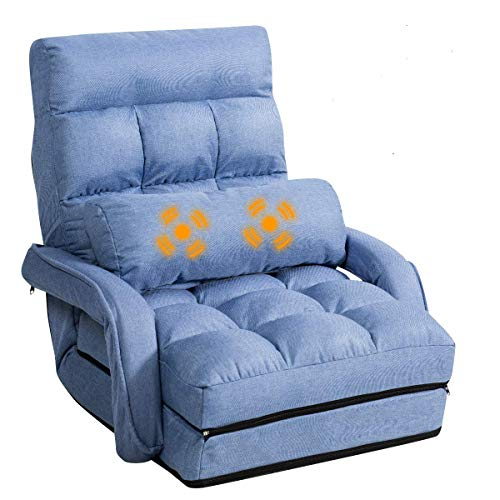 Giantex Updated Folding Massage Lazy Sofa Floor Chair Sofa Lounger Bed with Armrests and a Pillow Lounger Bed Chaise Couch (Blue)