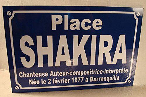 Noir & Mat Sérigraphie Place Shakira Plaque de Rue Objet Collection Cadeau pour Fan déco Originale