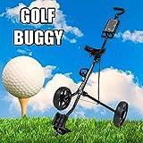 FFKL Chariot De Golf 2 Roues Chariot De Golf Pliable Chariot De Golf Réglable Push Pull en Alliage D'aluminium avec Frein,Black