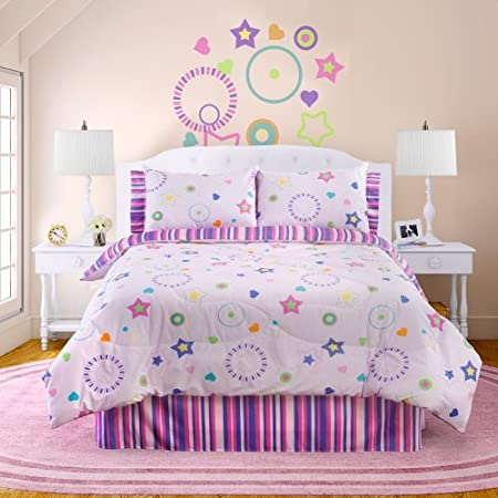 glow in the dark bedding with pink star theme