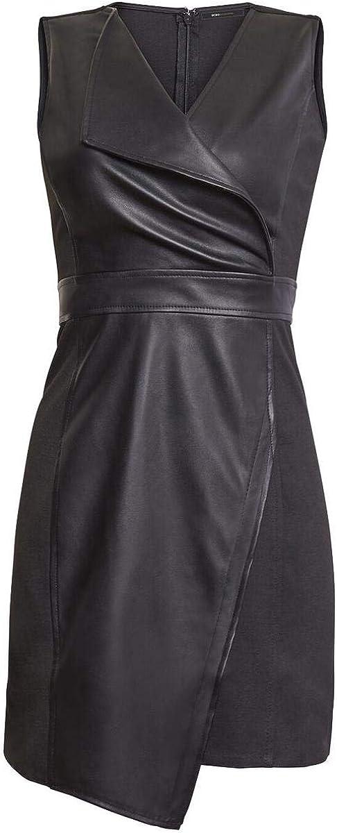 BCBGMAXAZRIA Womens Knit Faux Leather Sheath Dress