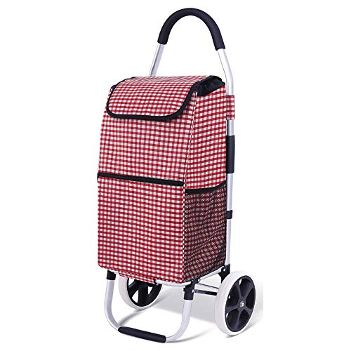 ADPTT-Home Shopping Cart Folding Shopping Cart Best Comfort Shopping Trolley Bag with Rolling Swivel Wheels Utility Grocery Cart with Waterproof Canvas Bag (Color : D5, Size : Free Size)