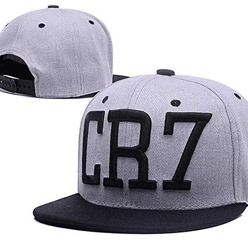 LSJYF Baseballkappe Mode Cr7 Baseball Caps Hip Hop Sport Snapback Fußball Hut Chapeu De Sol Bone Männer Frauen Persönlichkeit HüteGrau