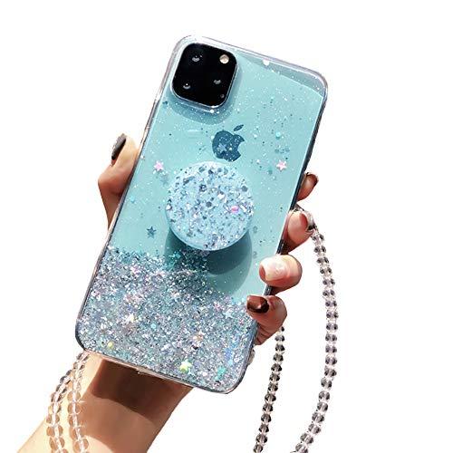 Kesv Funda Bling Glitter con Cordón para Huawei Mate 30 Brillante Transparente Carcasa de movil con Cuerda para Colgar en Silicona TPU