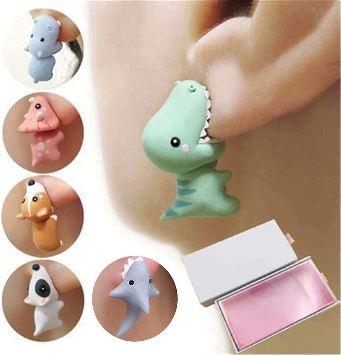 Cute Animal Bite Earring,3D Clay Earrings,Small and Exquisite for Easy Carrying and Collection.Fashion Simple Handmade Polymer Animal Stud Earrings. (One Set + Gift Box)