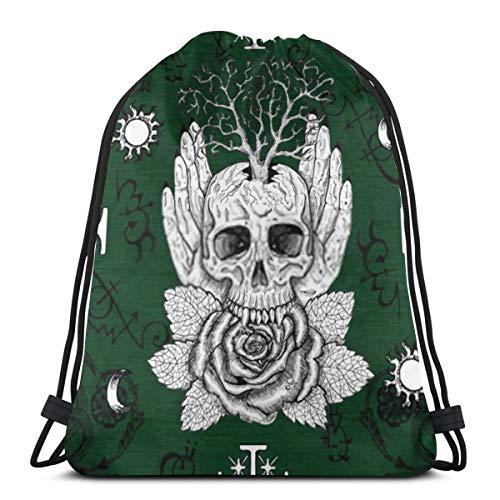 fgjfdjj Emblema de Wicca, Rosa, árbol y Calavera en Manos humanas contra Cruces de fantasía Mochila con cordón Mochila con cordón Mochila Cinch para Gimnasio Compras Deporte Yoga