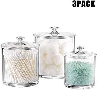 SJHP 3 pièces Pots-Coton Salle de Bains vanité Organisateur de Stockage bidon Pot pour Boules de Coton écouvillons beauté ...