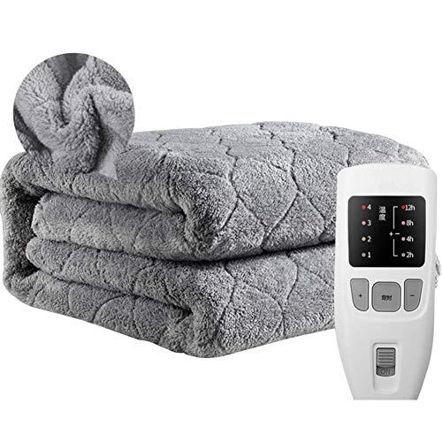 Authda Kuschelheizdecke Wärmeunterbett Abschaltautomatik Wasserdicht Flauschig Wärmedecke Heizdecken fürs Bett Timer Doppelbett Fernbedienung (200 x 180 cm, Grau)