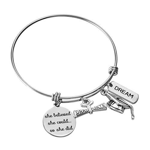Graduation Jewelry 2018 or 2019 She Believed She Could So She Did Silver Expandable Charm Bracelet Diploma Adjustable Bangle Gift Success One Size Fits All Gift Personalization and Custom Options