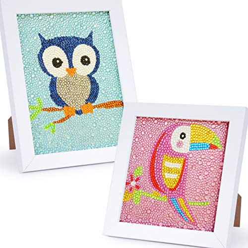 WeeYo 2 Pack Easy DIY 5D Diamond Painting Kits with Wooden Frames for Beginners,Full Drill Painting by Number Kits,Arts and Crafts for Kids and Adults Gift/Present (Birds,5.9×5.9 inch,5.9×7.8inch)