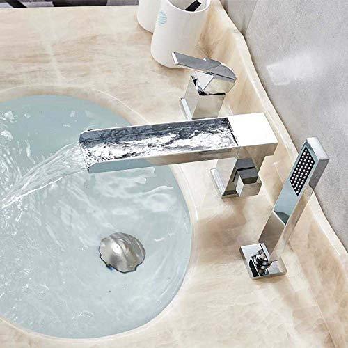NGHXZ wastafelkranen, mat zwart waterval bad kraan pull-out handdouche Widespread Badkuip Tap