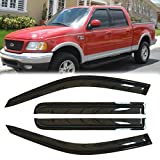 Deebior 4pcs Tape On Out Channel Style Sun Rain Guard Vent Shade Window Visors Deflectors 94949 Compatible With 2001-2003 F-150 SuperCrew Cab