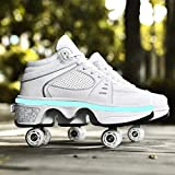 Roller Shoes Adulte Chaussure Roller Fille Kick Roller Skate Shoes Patins A roulettes 4 Roues Patins A roulettes Casual Sneakers,39 EU