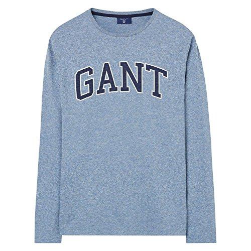 GANT Mens Outline Long Sleeve T-Shirt, Denim Blue Melange, Medium