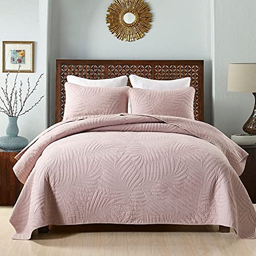 Lilizhou Juego de edredón Casas de algodón de 3 Piezas Cubierta de edredón de Doble Cara Color de Dos Caras Color sólido Rayas Florales en Relieve Rosa Super Suave (Size : 230x250cm)