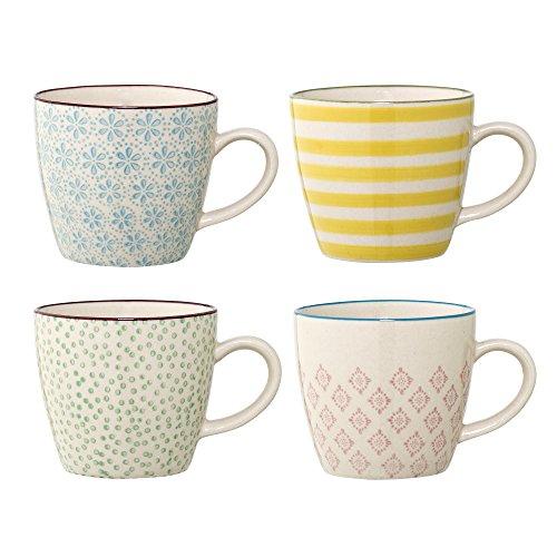 Bloomingville kleine Tassen Patrizia, blau gelb grün rosa, Keramik, 4er Set