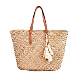 Straw Leather Beach Tote Shoulder Bag Womens Large - Washable Lining BEACH'D (Natural/ Tan)